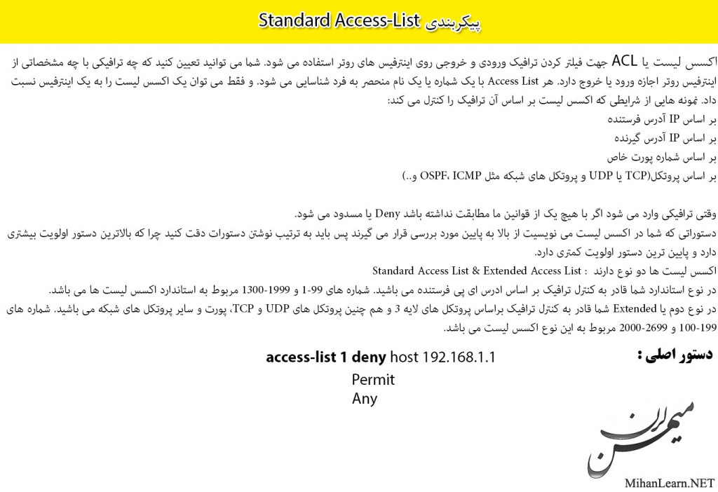 Standard Access-List in Cisco