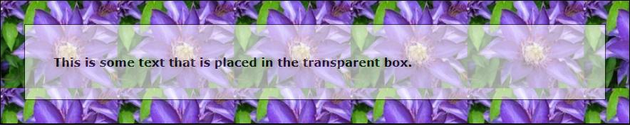 Transparent box in css